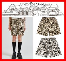 OPEN THE DOOR Leopard Patterns Casual Style Unisex Street Style Shorts