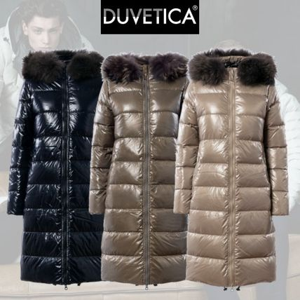 Fur Plain Long Elegant Style Down Jackets