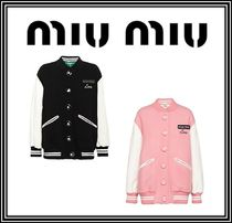 MiuMiu Wool Blended Fabrics Plain Medium Varsity Jackets
