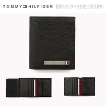 Tommy Hilfiger Stripes Blended Fabrics Plain Leather Folding Wallets