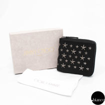 Jimmy Choo Star Unisex Lambskin Studded Street Style Folding Wallets