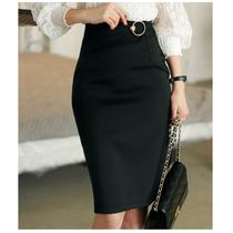 CHICLINE Pencil Skirts Plain Medium Elegant Style Midi Skirts