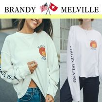 Brandy Melville Casual Style Long Sleeves Cotton Tops