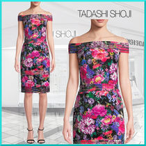 TADASHI SHOJI Flower Patterns Tight Nylon Medium Party Style Dresses