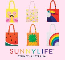 SUNNYLIFE Stripes Tropical Patterns Casual Style A4 Totes