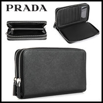 PRADA Unisex Plain Leather Long Wallets