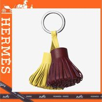 HERMES Lambskin Tassel Bi-color Plain Fringes Keychains & Holders