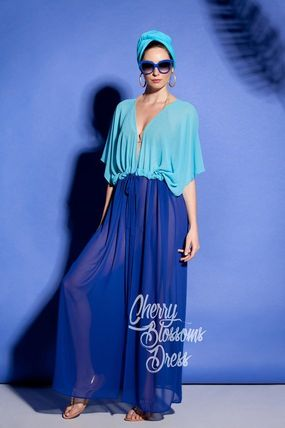 Maxi Chiffon V-Neck Plain Long Short Sleeves Party Style