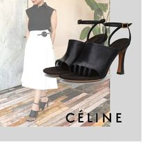 CELINE Plain Leather Block Heels Elegant Style Heeled Sandals