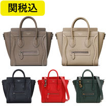 CELINE Luggage Calfskin 2WAY Plain Elegant Style Handbags