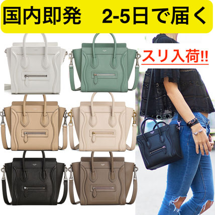 Calfskin 2WAY Plain Elegant Style Handbags