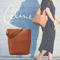 CELINE Sangle Casual Style Unisex Calfskin Plain Shoulder Bags