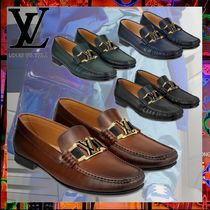 Louis Vuitton Stripes Loafers Blended Fabrics Plain Leather