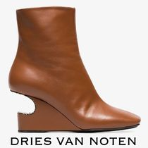 Dries Van Noten Square Toe Plain Leather Python Elegant Style Chunky Heels