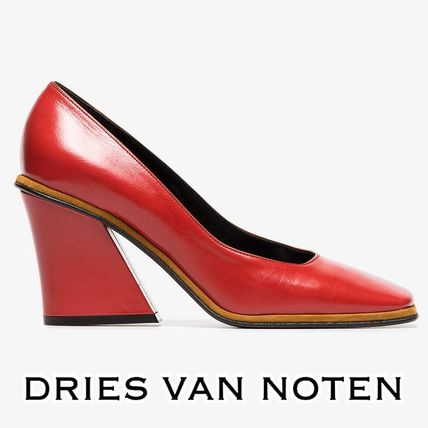 458a7ff29a ... Dries Van Noten High Heel Square Toe Plain Leather Elegant Style Chunky  Heels ...
