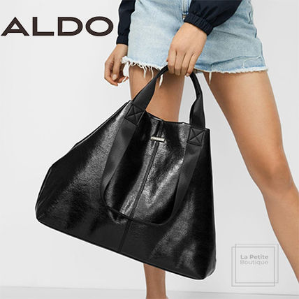 Casual Style Faux Fur A4 2WAY Plain Oversized Totes