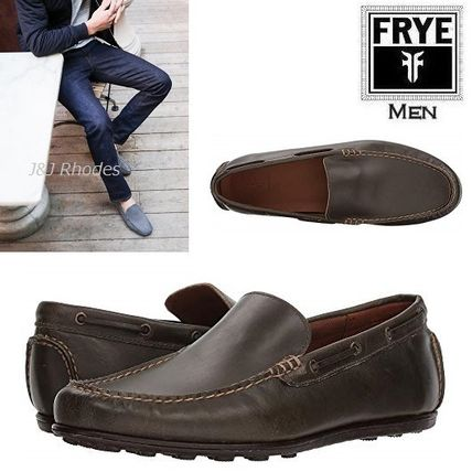 Driving Shoes Plain Leather Loafers & Slip-ons