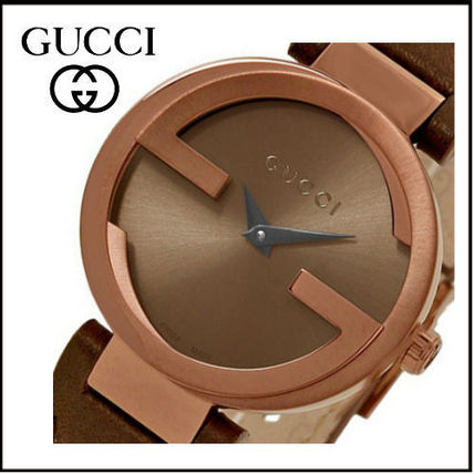 4d0ad063102 ... GUCCI Analog Casual Style Leather Round Quartz Watches Analog Watches  ...