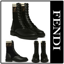 FENDI Rubber Sole Leather Ankle & Booties Boots