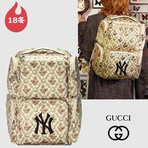 GUCCI Flower Patterns Nylon Collaboration A4 2WAY Backpacks