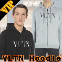 VALENTINO Unisex Long Sleeves Plain Cotton Hoodies