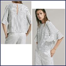 Massimo Dutti Stripes Cropped Medium Elegant Style Shirts & Blouses