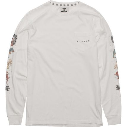 Crew Neck Tropical Patterns Long Sleeves Cotton