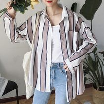 Stripes Casual Style Street Style V-Neck Long Sleeves Cotton