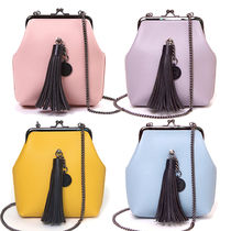 SAMO ONDOH Casual Style Chain Plain Leather Crossbody Shoulder Bags