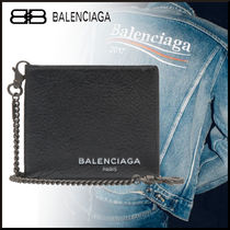 BALENCIAGA Lambskin Street Style Chain Plain Folding Wallets