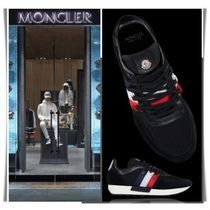 MONCLER Stripes Blended Fabrics Leather Sneakers