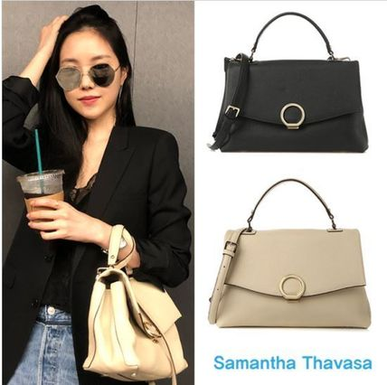 Casual Style Street Style 2WAY Plain Leather Totes