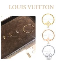Louis Vuitton Casual Style Flower Chain 18K Gold Rings