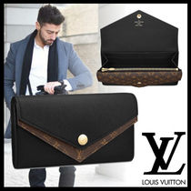 Louis Vuitton Monogram Plain Leather Long Wallets