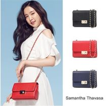 Samantha Thavasa Chain Plain Leather Elegant Style Shoulder Bags