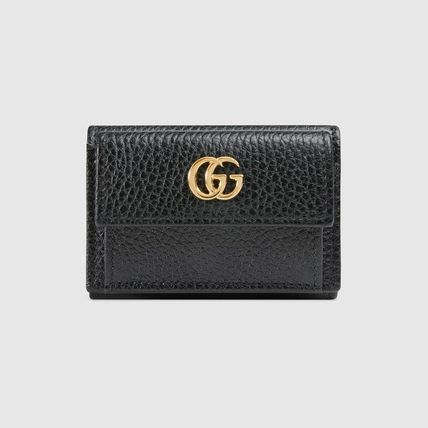 top fashion ee231 3109c GUCCI GG Marmont 2019 SS Calfskin Plain Folding Wallets (523277 CAO0G 1000)