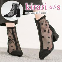 Dots Casual Style Suede Chunky Heels Ankle & Booties Boots