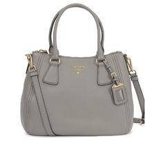 PRADA BIBLIOTHEQUE Plain Leather Elegant Style Shoulder Bags