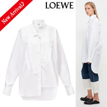 LOEWE Long Sleeves Plain Cotton Long Oversized Shirts & Blouses