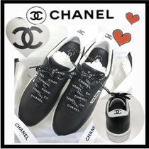 CHANEL SPORTS Unisex Bi-color Plain Leather Sneakers