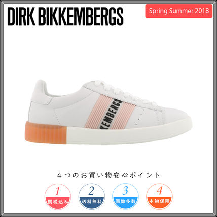 Monogram Round Toe Rubber Sole Lace-up Casual Style Leather