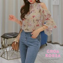 Flower Patterns Casual Style Chiffon Medium High-Neck