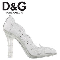 Dolce & Gabbana Flower Patterns Round Toe Plain Pin Heels Party Style