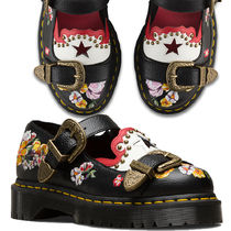 Dr Martens Flower Patterns Casual Style Leather Loafer Pumps & Mules