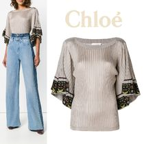 Chloe Flower Patterns Casual Style Plain Medium Short Sleeves