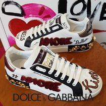 Dolce & Gabbana Heart Blended Fabrics Street Style Leather With Jewels