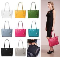 Michael Kors Street Style A4 Plain Leather Office Style Totes