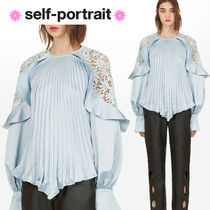 SELF PORTRAIT Plain Long Party Style Lace Puff Sleeves Shirts & Blouses