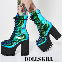 DOLLS KILL Platform Round Toe Lace-up Casual Style Plain Lace-up Boots
