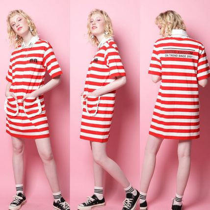 Stripes Casual Style Street Style Collaboration Cotton